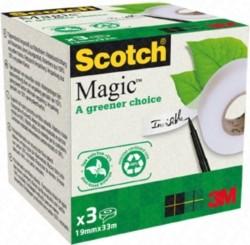 NASTRO ADESIVO SCOTCH MAGIC 900, INVISIBILE, ECOLOGICO (19MMx33M) 3 rotoli