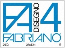 F4 - ALBUM DA DISEGNO BLOCCO FABRIANO4, LISCIO, SQUADRATO, 20 FOGLI 220gr, 24x33cm - 1PZ